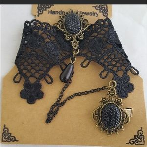 Black Lace Hand Harness Punk Goth OSFM